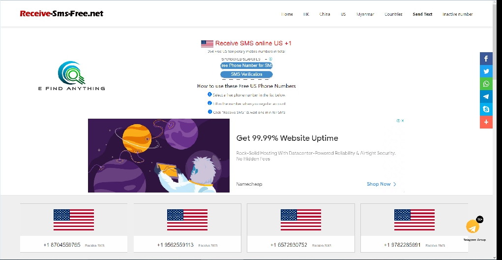 Get free temporary US phone number